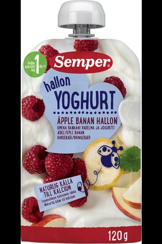 Semper Omena Banaani Vadelma Jogurtti 120g, jogurttihedelmäsose alkaen 12 kk