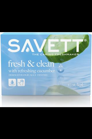 Savett 10kpl Fresh & Clean kosteuspyyhe