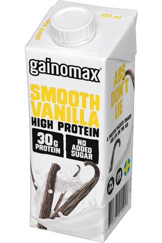 Gainomax High Protein Drink Smooth Vanilla 250 ml, Vaniljanmakuinen proteiinijuoma