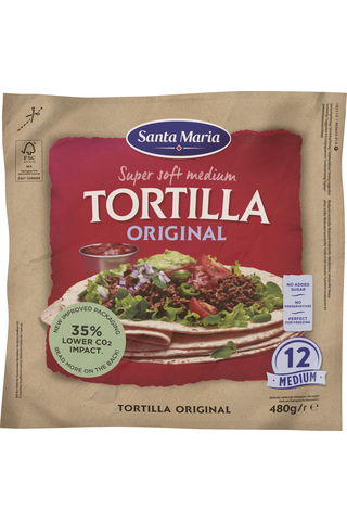 Santa Maria 480G Tex Mex Tortilla Original Medium (12-pack)