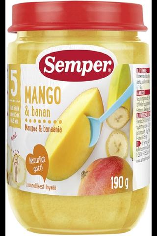 Semper 190g Mangoa ja banaania alkaen 5-6kk hedelmäsose