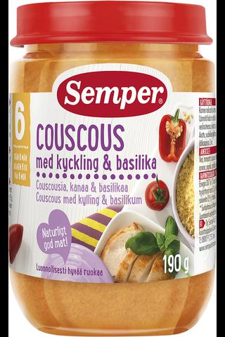 Semper 190g Couscousia, kanaa & basilikaa alkaen 6 kk lastenateria