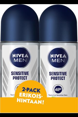 NIVEA MEN 2x50ml Sensitive Protect Deo roll-on -antiperspirantti