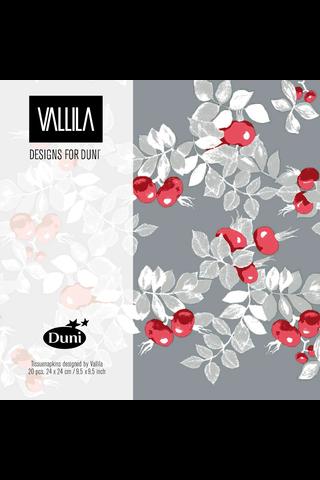 Duni Vallila 20kpl 24cm 3-krs Ruusunen lautasliina