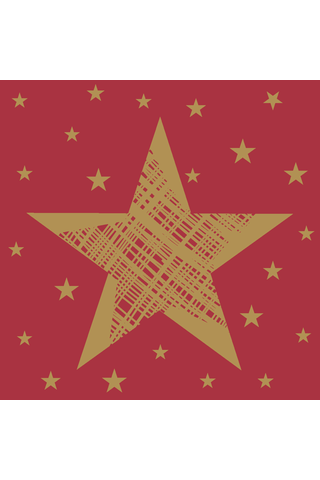 Duni 20kpl 24cm 3-krs Shining Star punainen lautasliina
