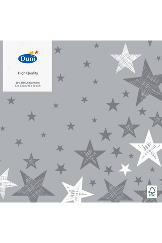 Duni 20kpl 33cm 3-krs Shining Star harmaa lautasliina