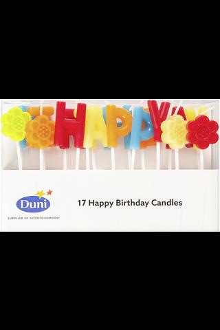 Duni kakkukynttilälajitelma Happy Birthday 7cm 5min 17kpl