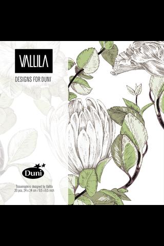 Duni Vallila 20kpl 24cm 3-krs Gloria vihreä lautasliina