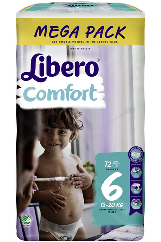 Libero Comfort 72kpl koko 6 Mega 12-22kg Teippivaippa