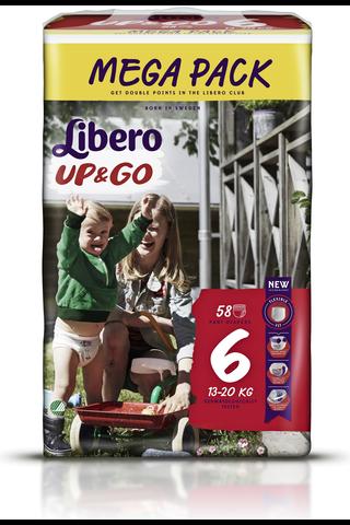 Libero Up&Go housuvaippa 13-20kg, koko 6, 58kpl