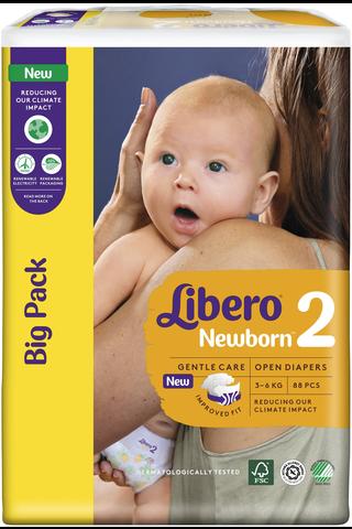 Libero Newborn teippivaippa 3-6kg, koko 2, 88kpl
