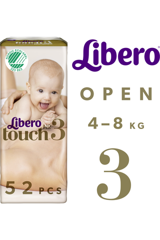 Libero Touch Teippivaippa koko 3 4-8kg 52 kpl