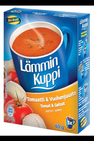 Blå Band Lämmin Kuppi vähälaktoosinen Tomaatti-Vuohenjuustokeitto 3x20g