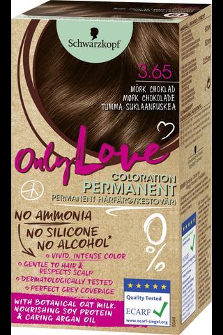 Schwarzkopf Only Love 3.65 hiusväri tumma suklaanruskea