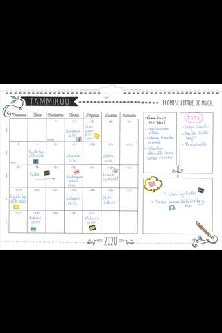 Seinäkalenteri 2020 Scribble 420 x 297 mm Burde