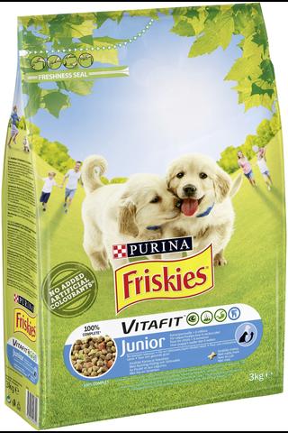 Friskies 3kg Junior Kanaa, Maitoa ja Kasviksia koiranruoka