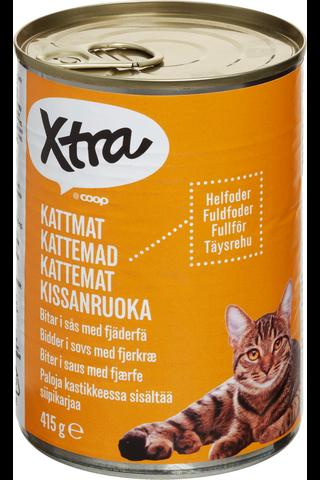 X-tra Kissanruoka paloja kastikkeessa, sisältää siipikarjan lihaa, 415 g