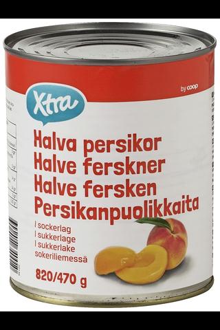 X-tra Persikanpuolikkaita sokeriliemessä 820/470 g