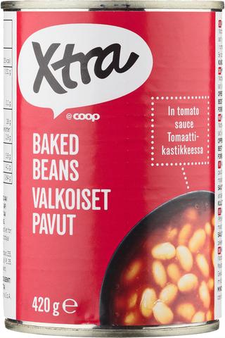 X-tra Valkoisia papuja tomaattikastikkeessa 420 g