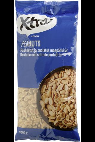 Xtra 1kg paahdetut ja suolatut maapähkinät