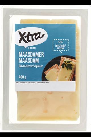 X-tra Maasdam viipaleet 17 %, 400 g