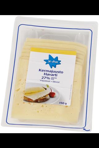 X-tra Kermajuusto havarti viipaleet 27 %, 150 g
