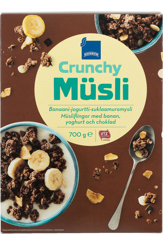 Rainbow 700g Crunchy Müsli banaani-jogurtti-suklaamuromysli