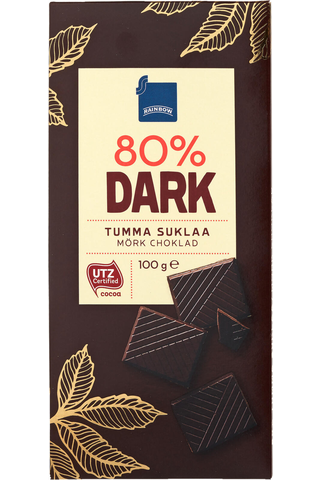 Rainbow Dark 80 % tumma suklaa 100 g
