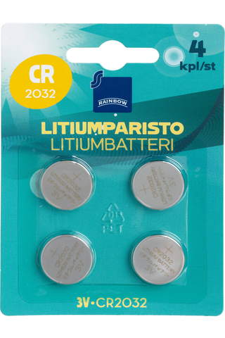 Rainbow CR2032 coin battery, 4-pack 4 H87