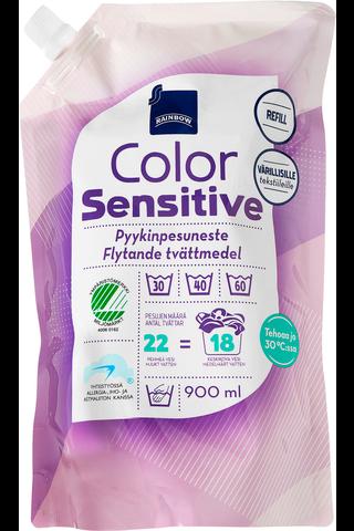 Rainbow pyykinpesuneste Sensitive Color 900 ml, täyttöpakkaus