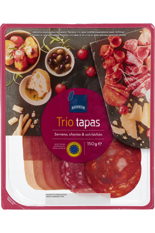TRIO TAPAS Serrano, ilmakuivattu kinkku APT 60 g. Chorizo, ilmakuivattu kestomakkara . 45 g. Salchichón, ilmakuivattu kestomakkara . 45 g.