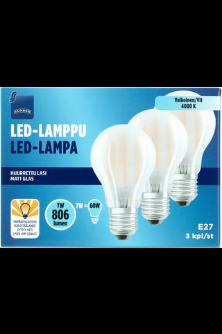 Rainbow LED-lamppu 7W E27 4000K 806lm huurrettu lasi 3kpl