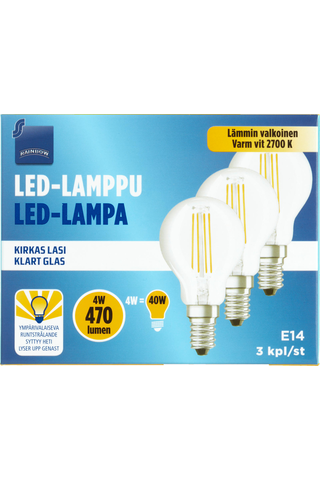 Rainbow LED-lamppu 4W E14 2700K 470lm kirkas lasi 3kpl