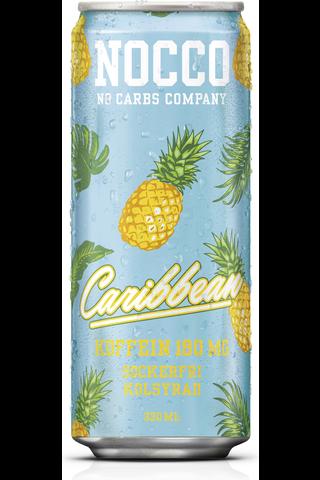 NOCCO Caribbean 330ml,  ananaksen ja greipin makuinen aminohappoja, kofeiinia ja vitamiineja sisältävä hiilihapotettu juoma