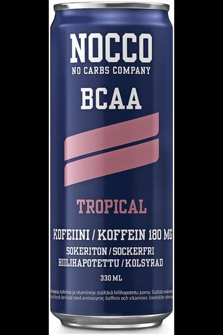 330ml NOCCO BCAA Tropical makuinen, aminohappoja, kofeiinia ja vitamiineja sisältävä hiilihapotettu energiajuoma