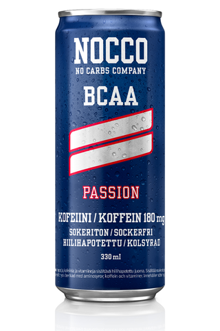 330ml NOCCO BCAA Passion, passionhedelmän makuinen, aminohappoja, kofeiinia ja vitamiineja sisältävä hiilihapotettu energiajuoma