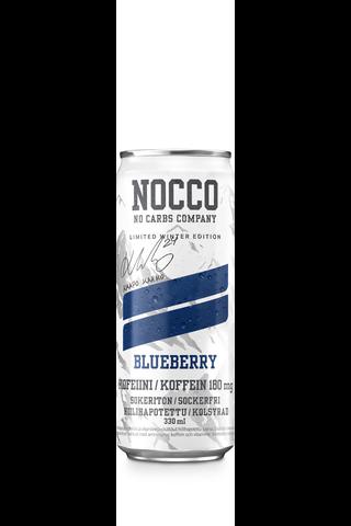 330ml NOCCO BCAA Winter Edition Blueberry, Aminohappoja, kofeiinia ja vitamiineja sisältävä mustikanmakuinen hiilihapotettu urheilujuoma