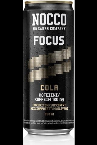 330ml NOCCO FOCUS Colan makuinen, aminohappoja, kofeiinia ja vitamiineja sisältävä hiilihapotettu energiajuoma