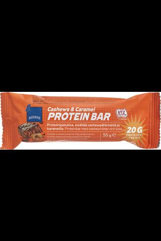 Rainbow 55 g proteiinipatukka, sisältää cashewpähkinöitä ja karamellia