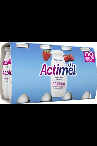 Danone Actimel mansikka jogurttijuoma ei lisättyä sokeria 8x100g