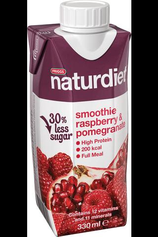 Naturdiet 330ml Vadelma-Granaattiomena smoothie