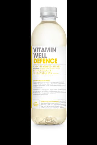 500ml Vitamin Well Defence, Sitruunan ja seljanmarjan makuinen, vitaminoitu hiilihapoton juoma