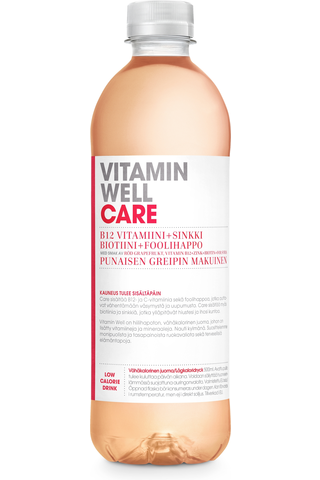 500ml Vitamin Well Care, punaisen greipin makuinen, vitaminoitu hiilihapoton juoma