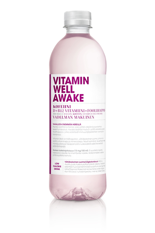 500ml Vitamin Well Awake, vadelman makuinen vitaminoitu hiilihapoton juoma
