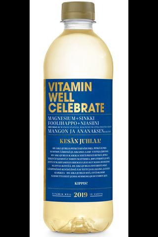 Vitamin Well 500ml Celebrate, maustettu hiilihapoton mangon ja ananaksen makuinen juoma