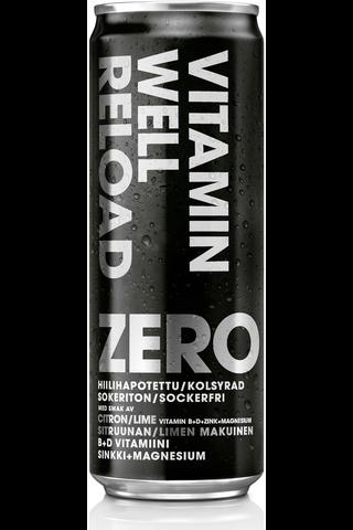 355ml Vitamin Well Zero Reload, sokeriton, vitamiineja sisältävä sitruunan ja limen makuinen hiilihapotettu juoma