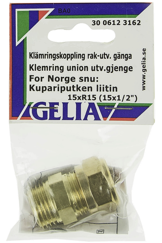 Gelia puserrusliitin ulkokierre R15x15mm