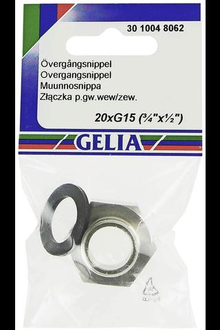 Gelia muunnosnippa kantikas sisäkierre/ulkokierre R20xR15 kromattu