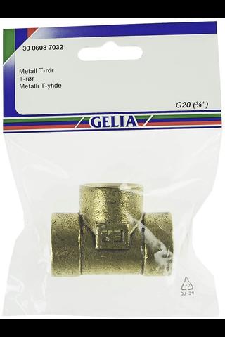 Gelia t-yhde sisäkierre R20 messinki