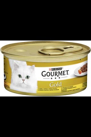 Gourmet 85g Gold Delicatesse Naudanlihaa ja Kanaa tomaattikastikkeessa kissanruoka
